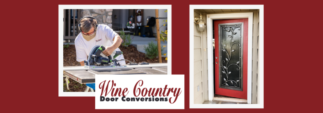 Wine Country Door Conversions in action converting doors to contain wrought iron windows