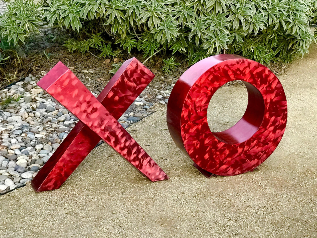 Love Letters sculpture, Candy Apple Red by Charles Sherman