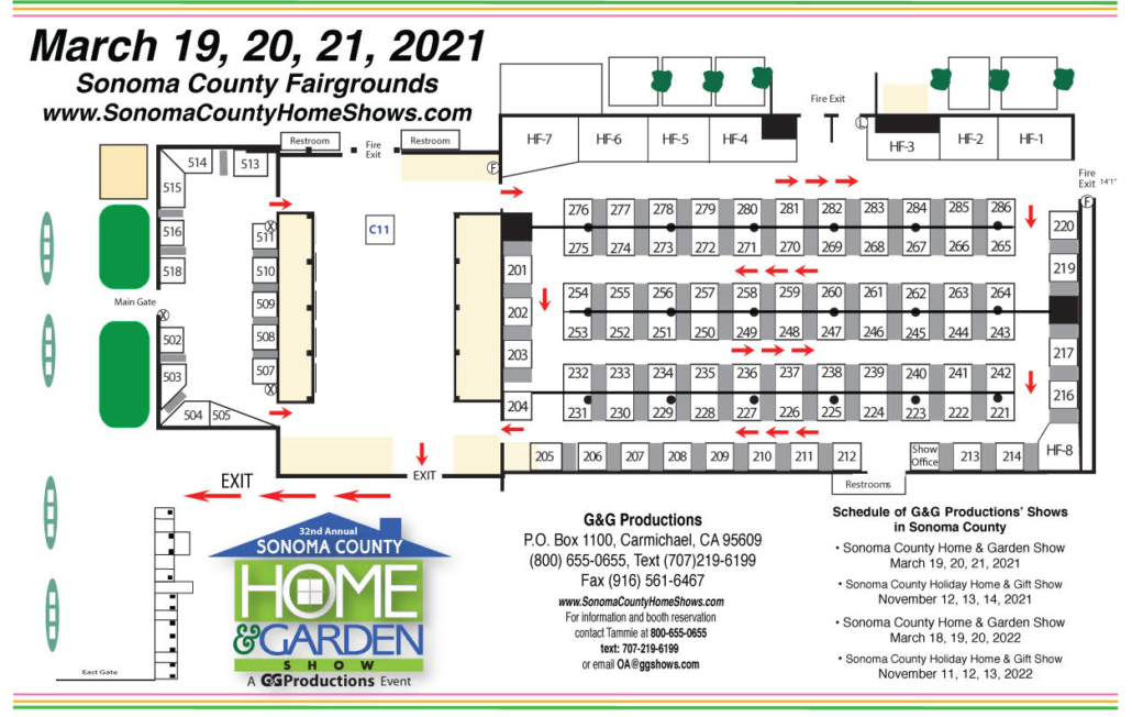 Directional event map for the 2021 Sonoma Home & Garden Show