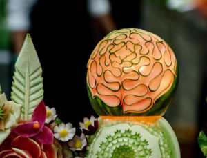 Picture of a fruit sculpture by Chef Ray Duey