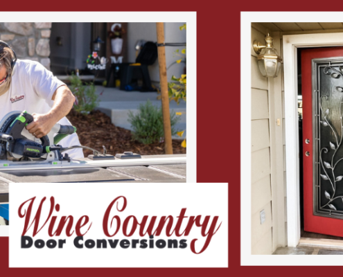 Man sawing door with the words Wine Country Door Conversions and photo of completed wrought iron front door